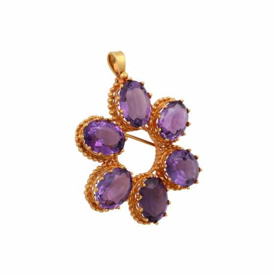 Pendant/brooch with 6 oval fac. Amethysts - photo 2