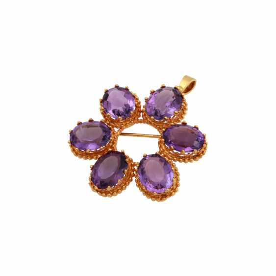 Pendant/brooch with 6 oval fac. Amethysts - photo 3