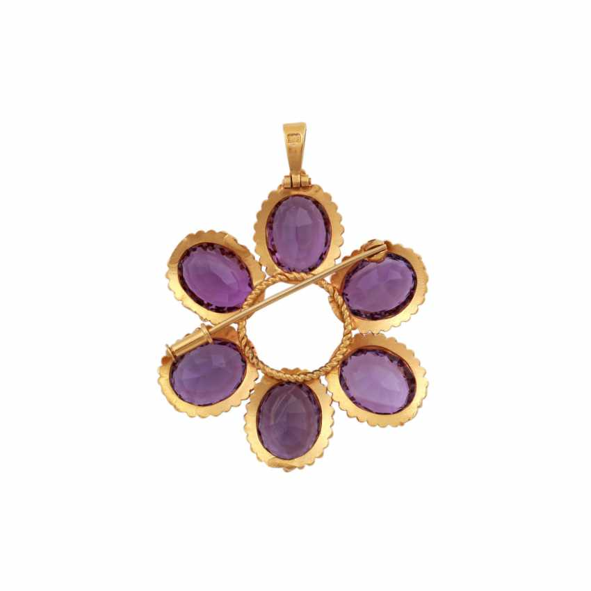 Pendant/brooch with 6 oval fac. Amethysts - photo 4