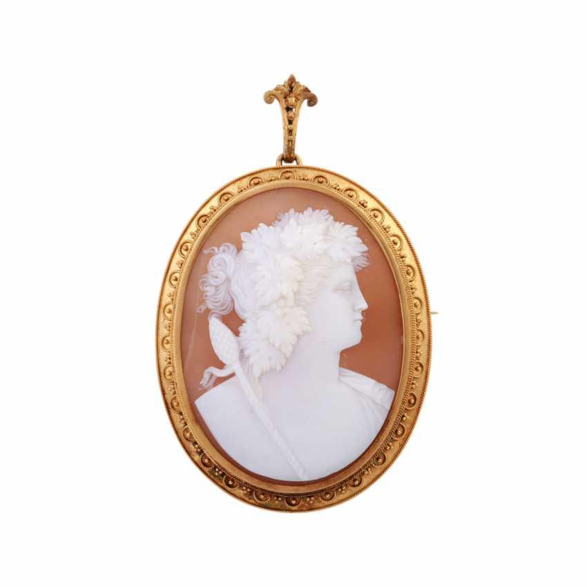 "Pendant/brooch ""Bacchus"" from fine cut Muschelkamee, - photo 1"