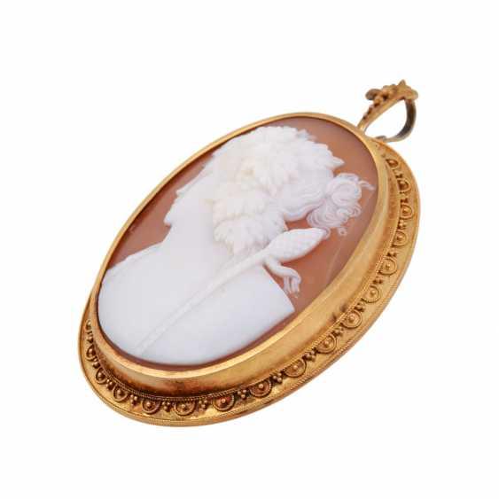 "Pendant/brooch ""Bacchus"" from fine cut Muschelkamee, - photo 3"