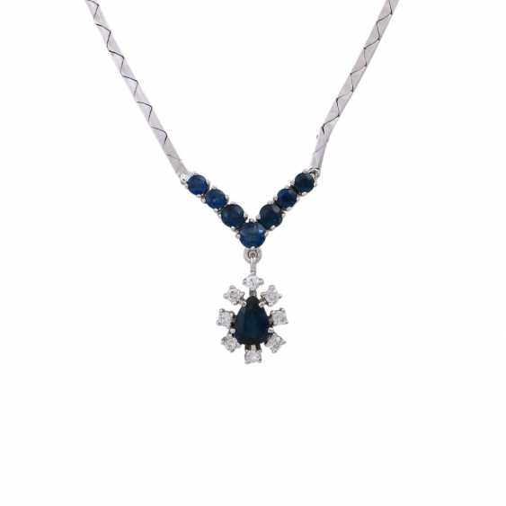 Necklace with 8 sapphires in the middle 1 drop of entouriert of 8 brilliant-cut diamonds, - photo 2