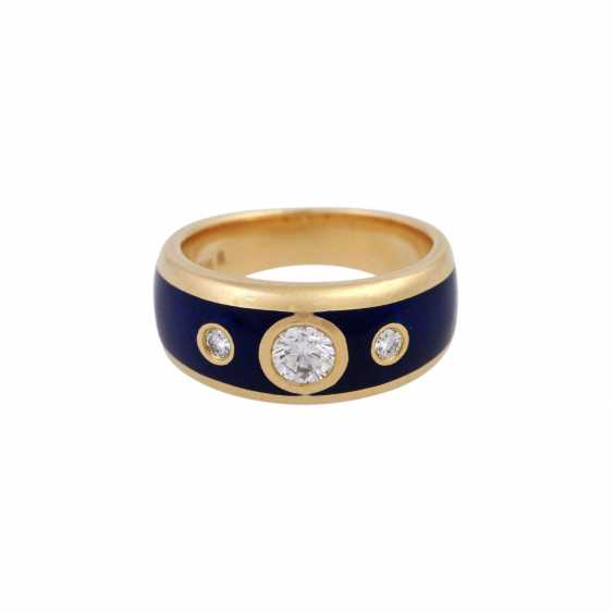 Ring with 3 brilliant-cut diamonds, 1x 0.25 ct, 2x 0.03 ct, WHITE (H)/VVS - photo 1
