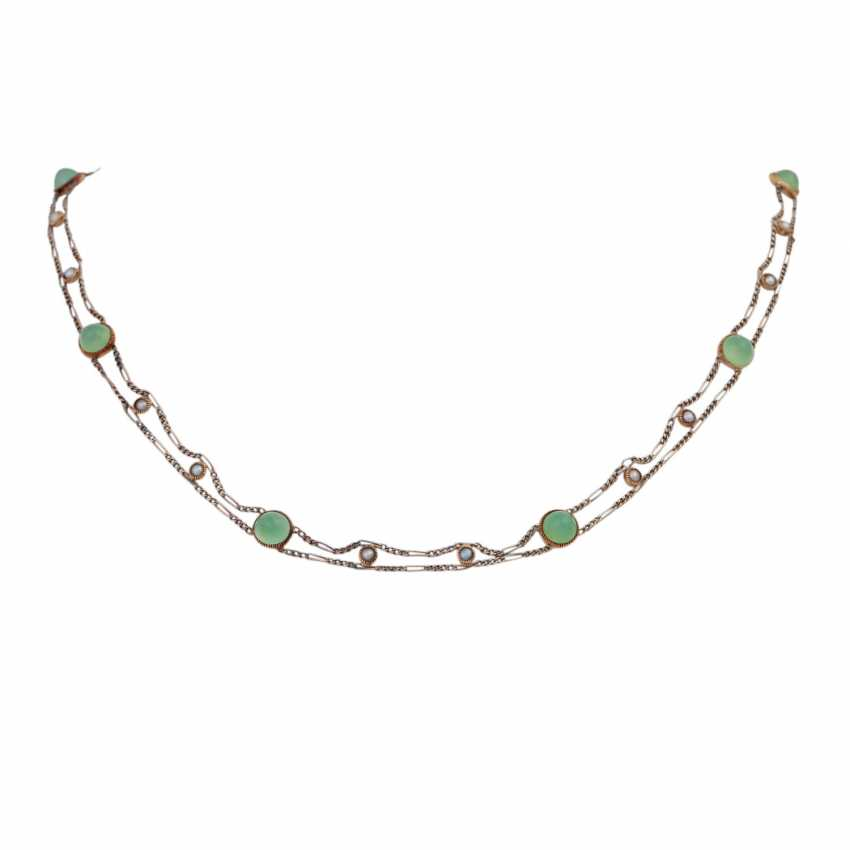 Delicate necklace bes. with 8 rounds of green agate cabochons - photo 1