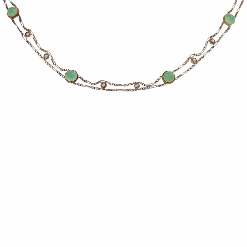 Delicate necklace bes. with 8 rounds of green agate cabochons - photo 2