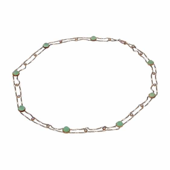 Delicate necklace bes. with 8 rounds of green agate cabochons - photo 3
