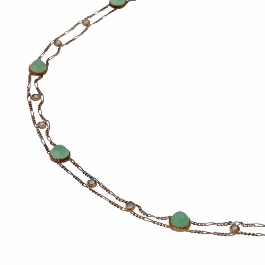 Delicate necklace bes. with 8 rounds of green agate cabochons - photo 4