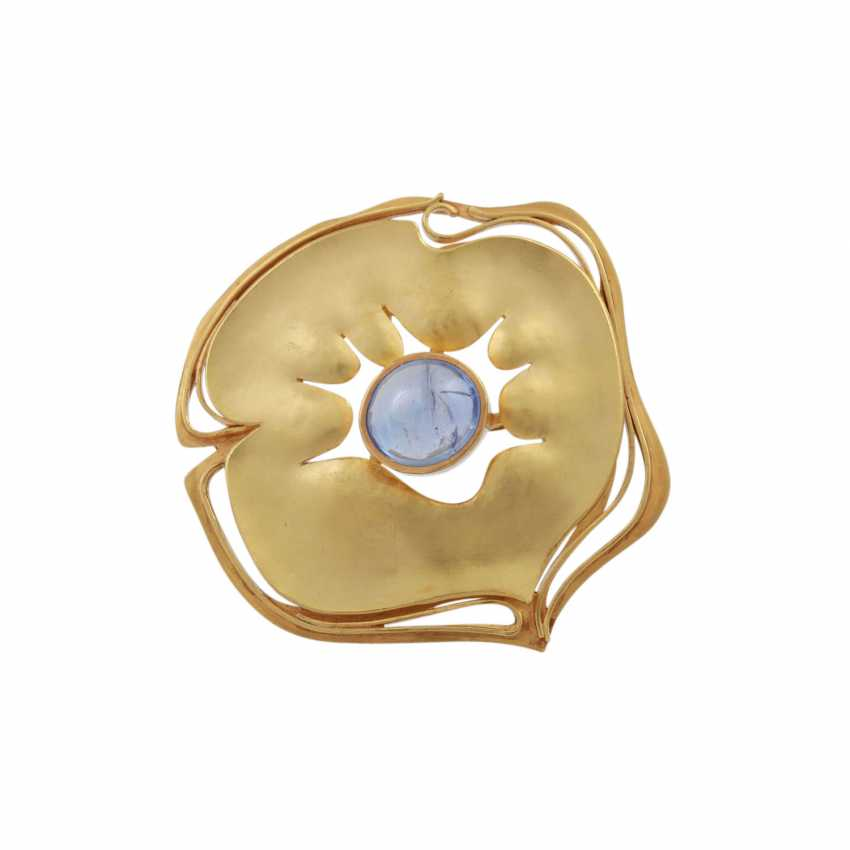 CHARLOTTE hole müller design brooch with an oval cabochon sapphire, - photo 1