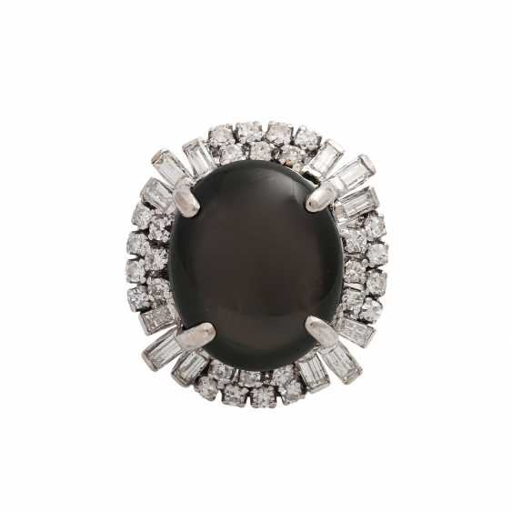Ring with black star sapphire approx. 10 ct, - photo 1