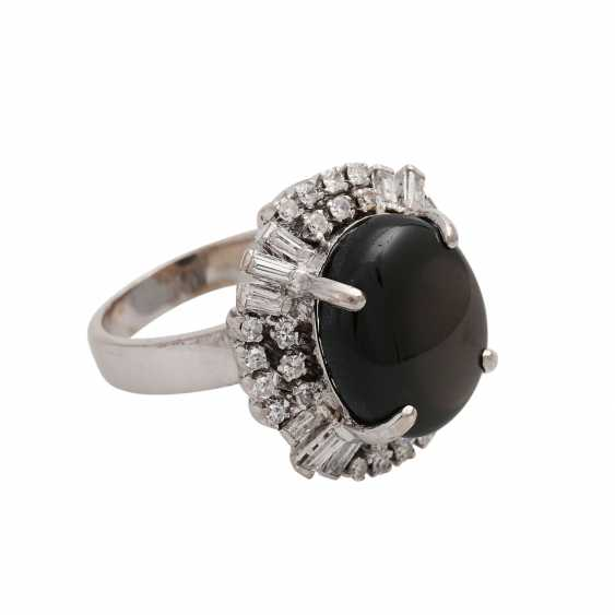 Ring with black star sapphire approx. 10 ct, - photo 2
