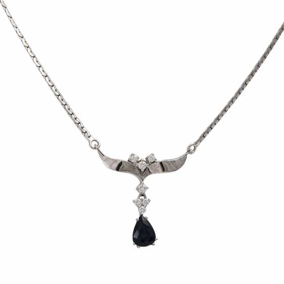 Necklace with fac. Sapphire drops of about 1.8 ct and 7 diamonds, - photo 2
