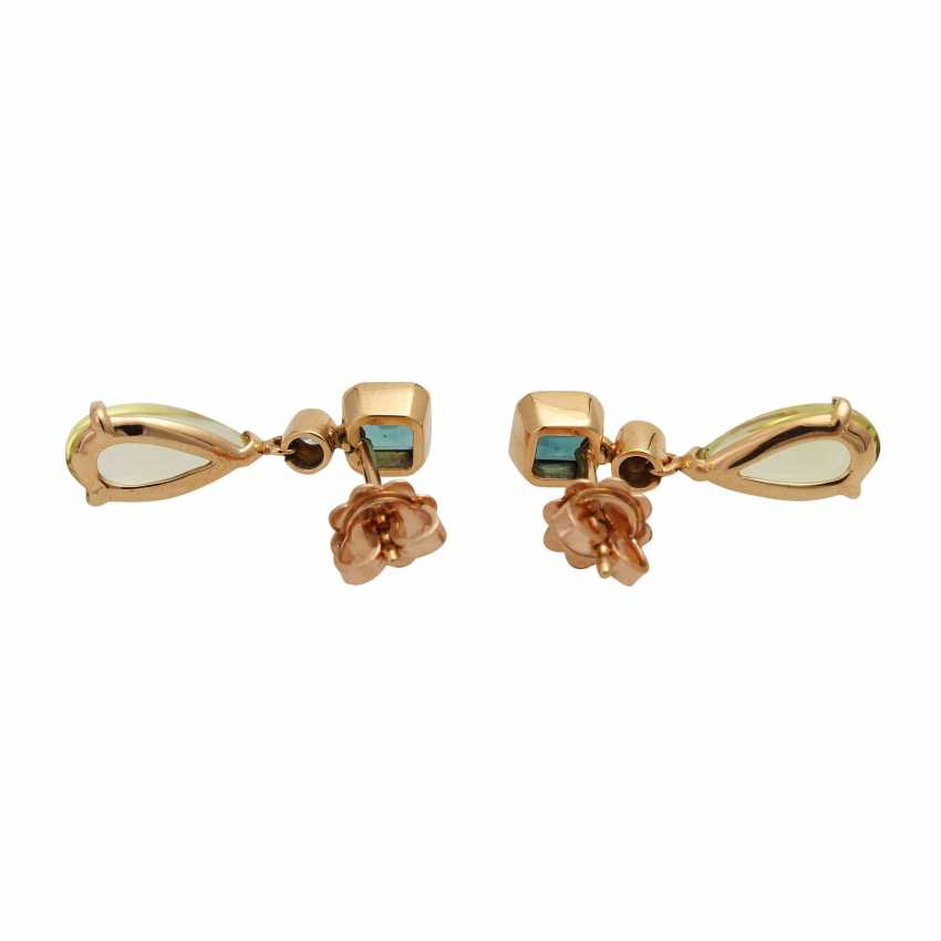 WEMPE BY KIM Pair of stud earrings with green and blue tourmalines - photo 4
