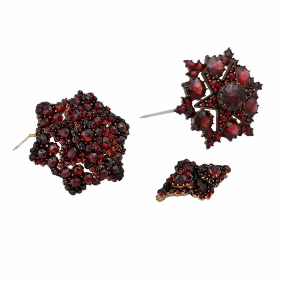 Set of 3 brooches garnet jewelry, - photo 1