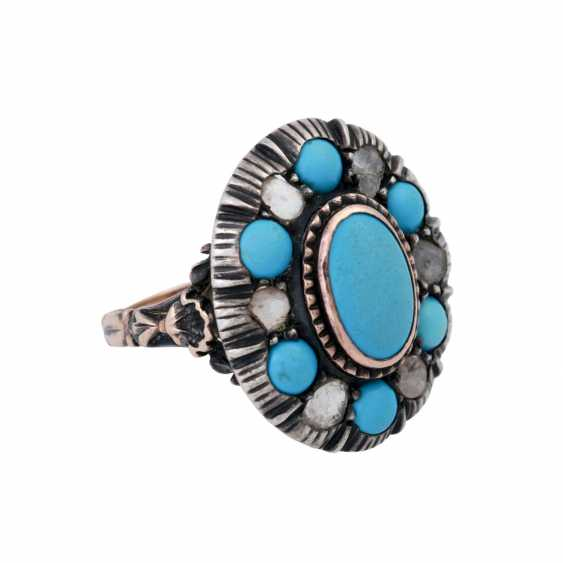 Ring with 6 diamond roses and light blue stones, - photo 2