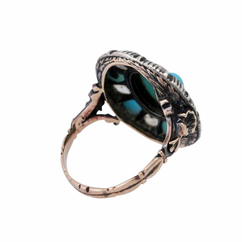Ring with 6 diamond roses and light blue stones, - photo 3
