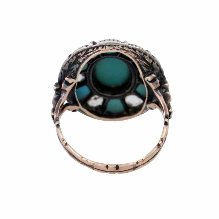 Ring with 6 diamond roses and light blue stones, - photo 4