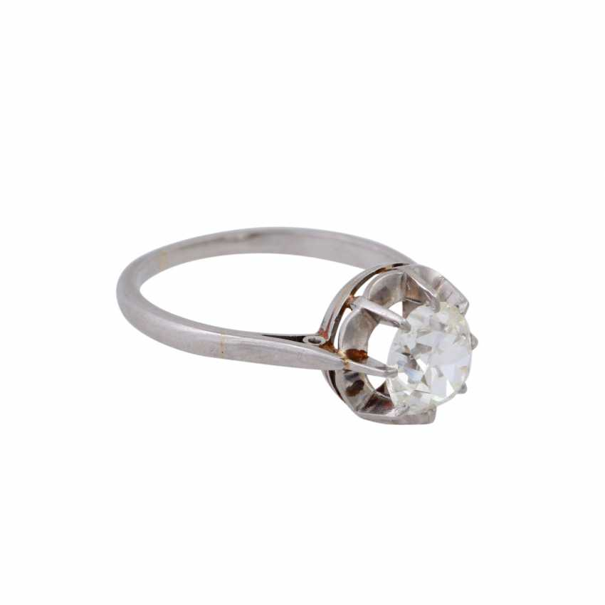 Solitaire ring with old European cut diamond of approximately 1 ct, - photo 2