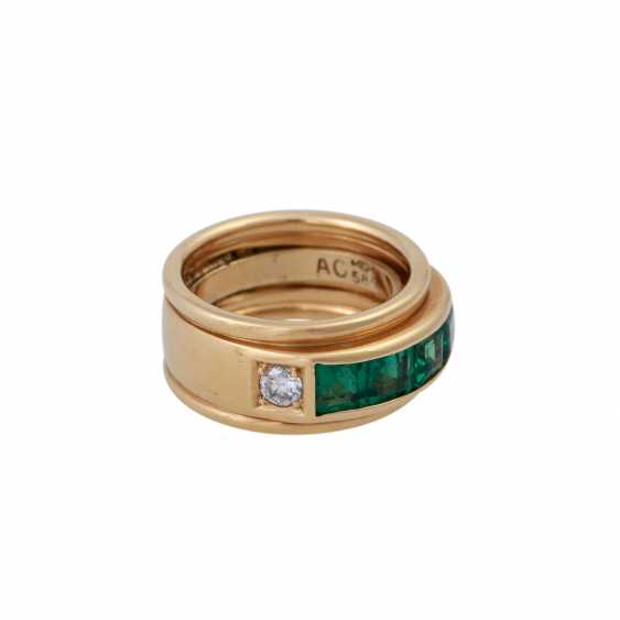 Ring with 4 Smaragdcarrés zusammen ca. 1,2 ct, - photo 2
