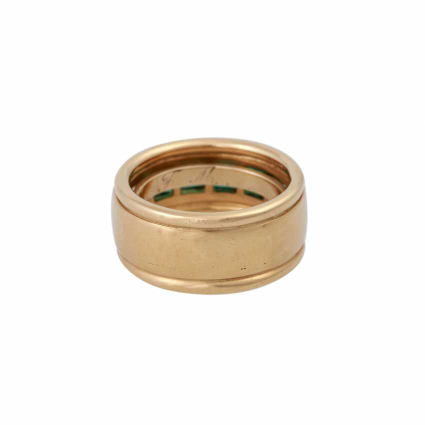 Ring with 4 Smaragdcarrés zusammen ca. 1,2 ct, - photo 4