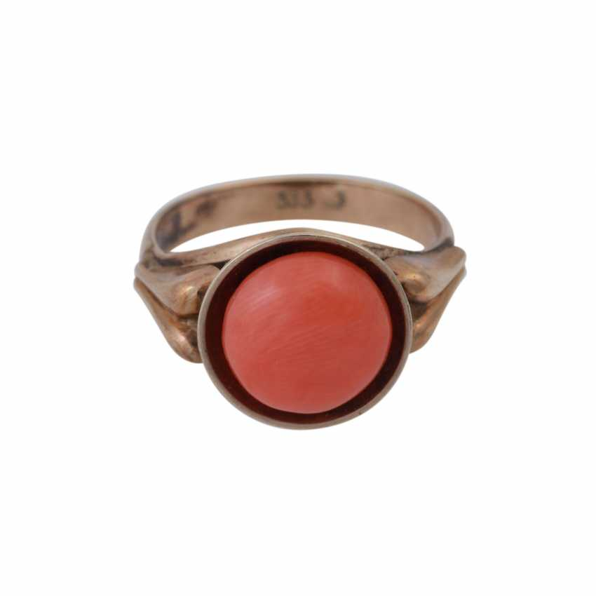 Ring with fine Mediterranean coral, - photo 1