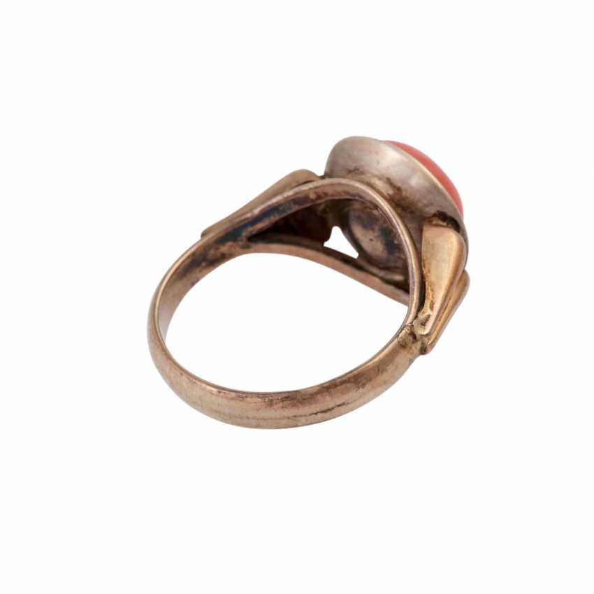 Ring with fine Mediterranean coral, - photo 3