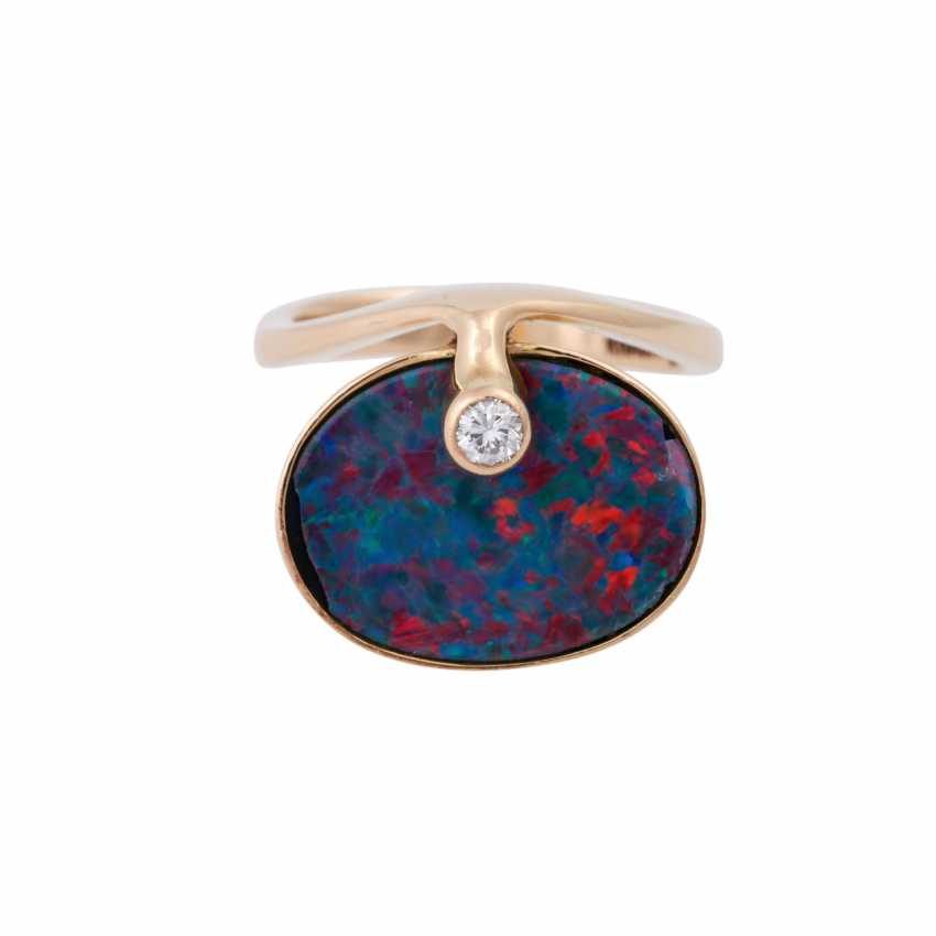 Ring with opal doublette and brilliant - photo 1