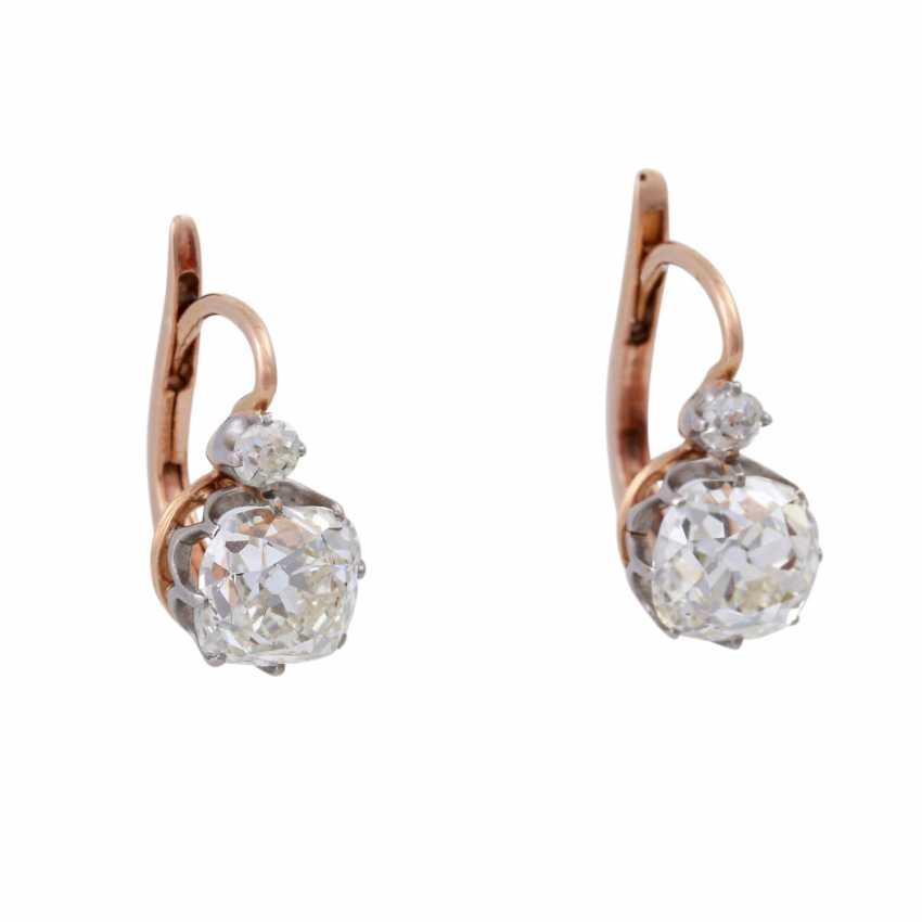 Paar Ohrhänger mit Altschliffdiamanten zusammen ca. 2,4 ct, - Foto 1