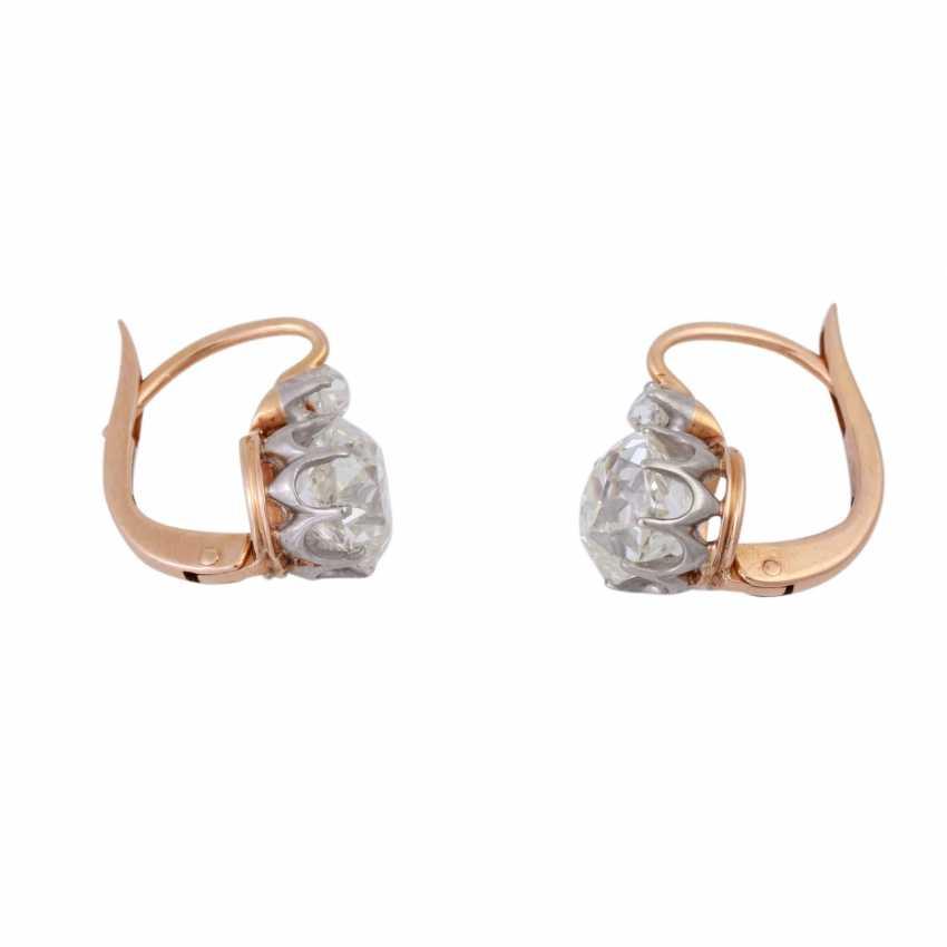 Paar Ohrhänger mit Altschliffdiamanten zusammen ca. 2,4 ct, - Foto 2