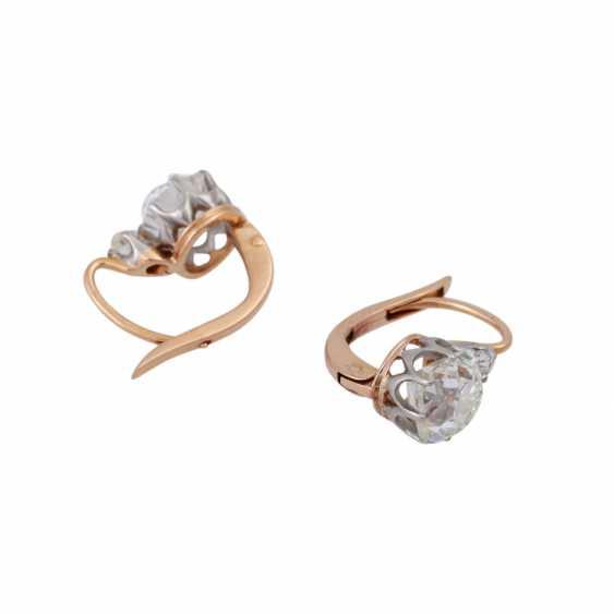 Paar Ohrhänger mit Altschliffdiamanten zusammen ca. 2,4 ct, - Foto 3