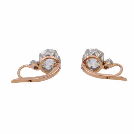 Paar Ohrhänger mit Altschliffdiamanten zusammen ca. 2,4 ct, - Foto 4
