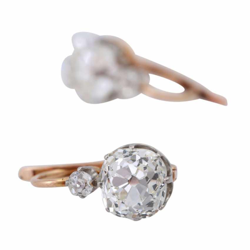 Paar Ohrhänger mit Altschliffdiamanten zusammen ca. 2,4 ct, - Foto 5