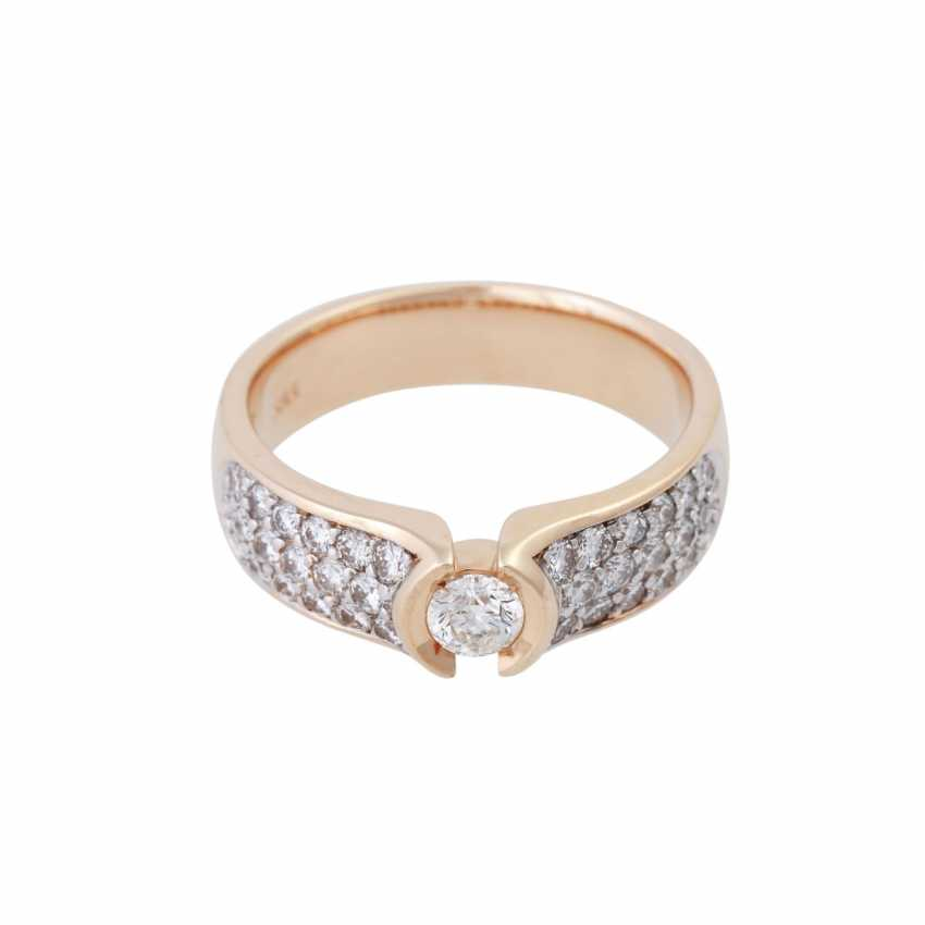 Ring with brilliant-cut diamonds, together CA. 1 ct, - photo 1