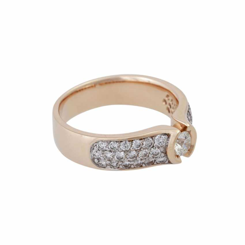 Ring with brilliant-cut diamonds, together CA. 1 ct, - photo 2