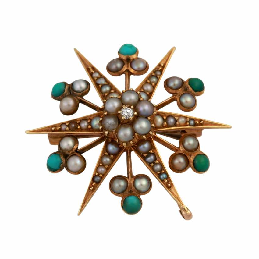 Brooch in the form of a star with a small old European cut diamond, approx 0.02 ct, - photo 1