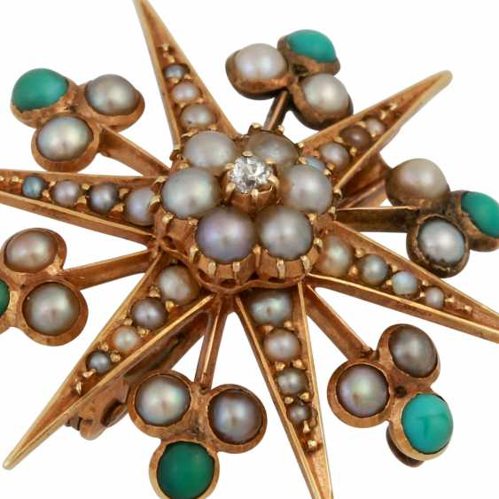 Brooch in the form of a star with a small old European cut diamond, approx 0.02 ct, - photo 4