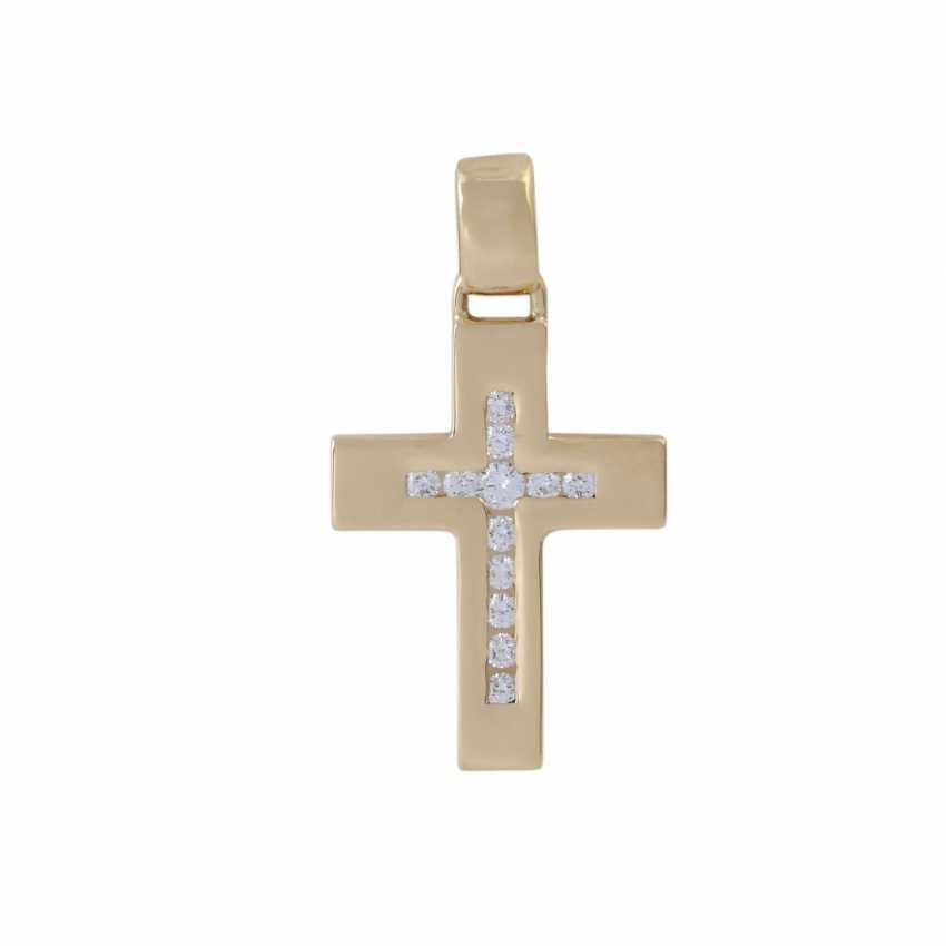 Cross pendant with brilliant-cut diamonds, - photo 1