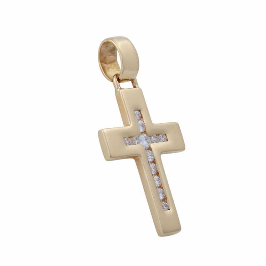 Cross pendant with brilliant-cut diamonds, - photo 2