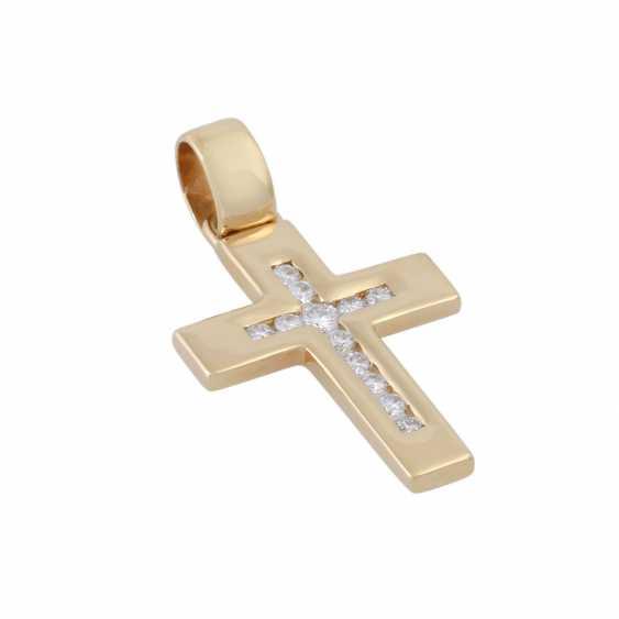 Cross pendant with brilliant-cut diamonds, - photo 3