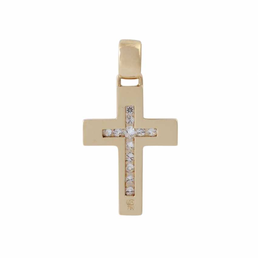 Cross pendant with brilliant-cut diamonds, - photo 4