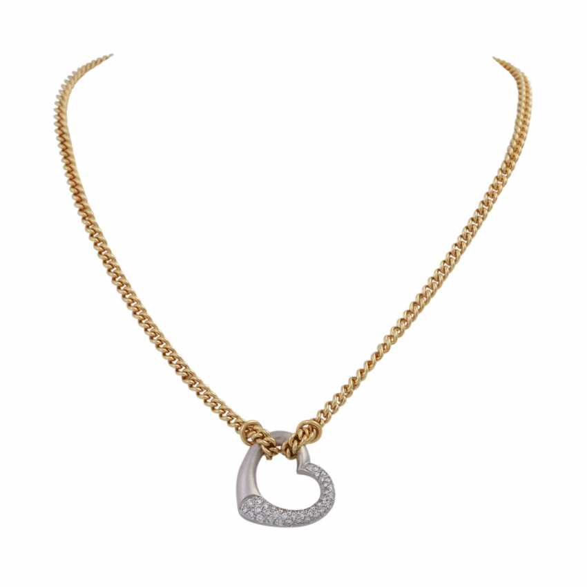 Necklace with brilliant-encrusted heart pendant, - photo 1