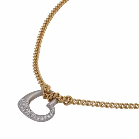 Necklace with brilliant-encrusted heart pendant, - photo 4