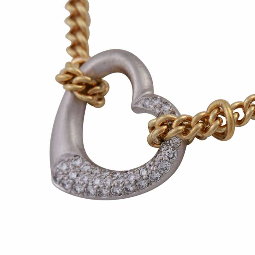 Necklace with brilliant-encrusted heart pendant, - photo 5
