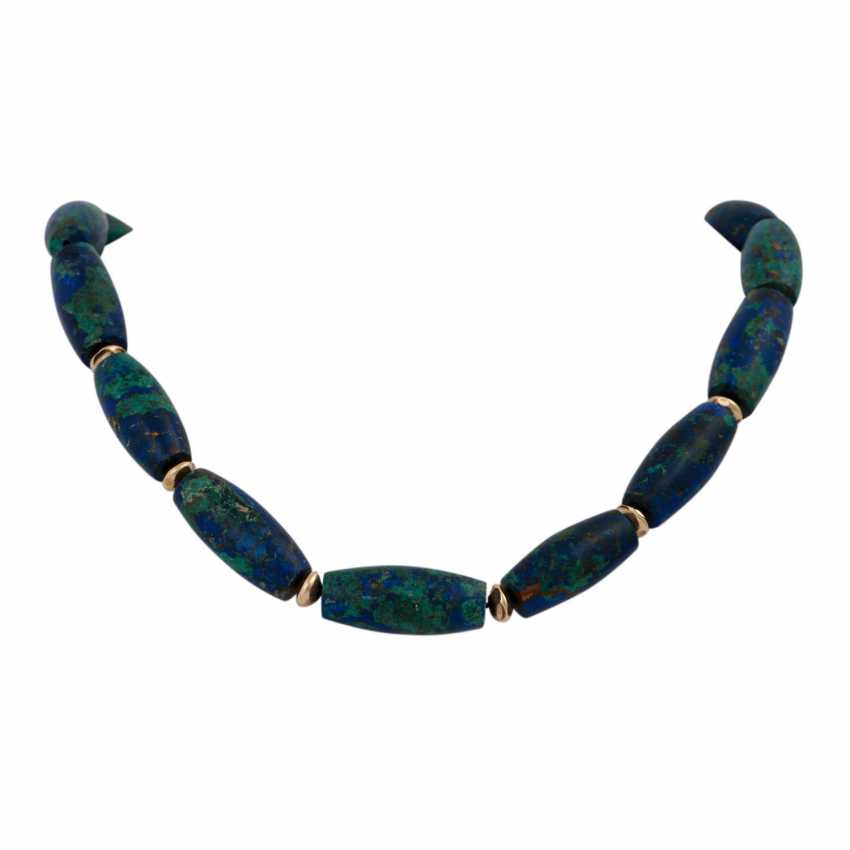Set brooch and necklace made of azurite, - photo 2