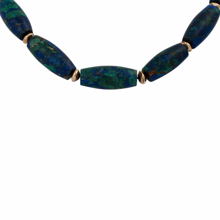 Set brooch and necklace made of azurite, - photo 3