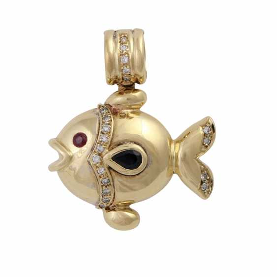 """Clip pendant """"fish"""" with sapphire, ruby and diamonds, - photo 1"""