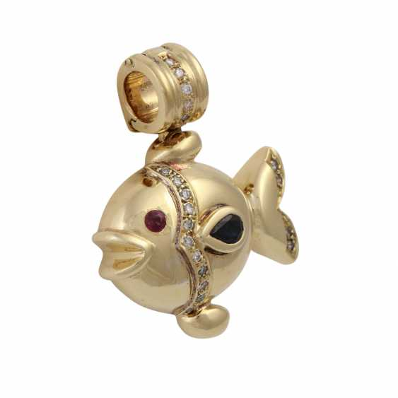 """Clip pendant """"fish"""" with sapphire, ruby and diamonds, - photo 2"""