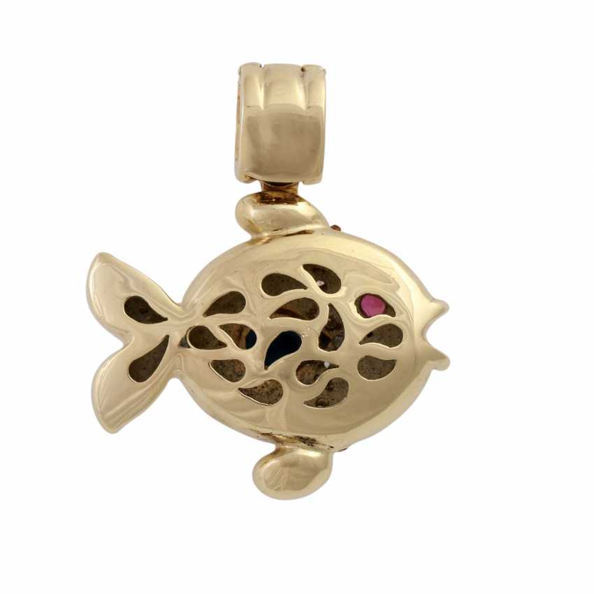 """Clip pendant """"fish"""" with sapphire, ruby and diamonds, - photo 3"""