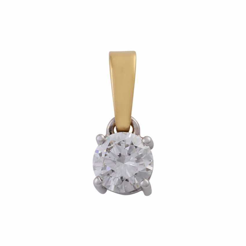 Solitaire pendant, set with diamonds, approx 0.8 ct, WHITE (H)/SI2-P1, - photo 1