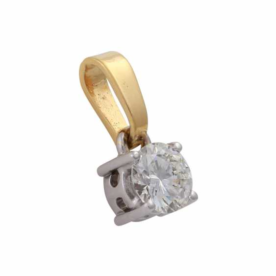Solitaire pendant, set with diamonds, approx 0.8 ct, WHITE (H)/SI2-P1, - photo 2