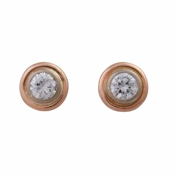 Solitaire earrings with brilliant-cut diamonds, approximately 0.33 ct, - photo 1